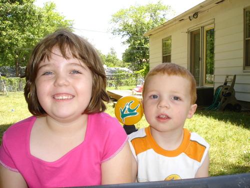 Neighbor kids in our backyard!